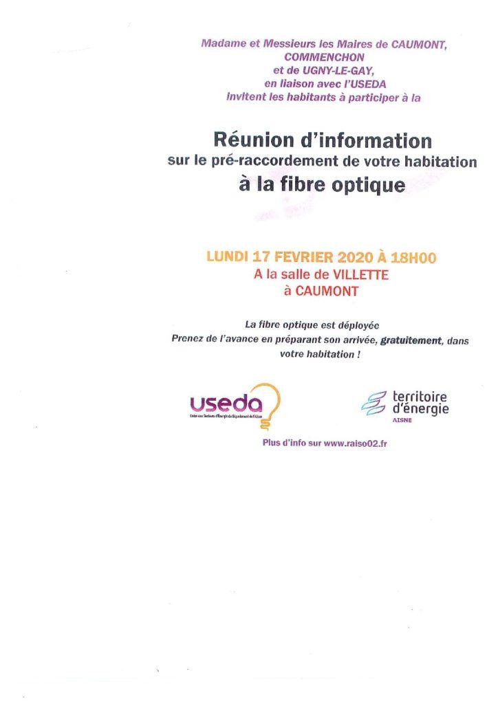 Réunion d'information sur le pré – raccordement à la fibre