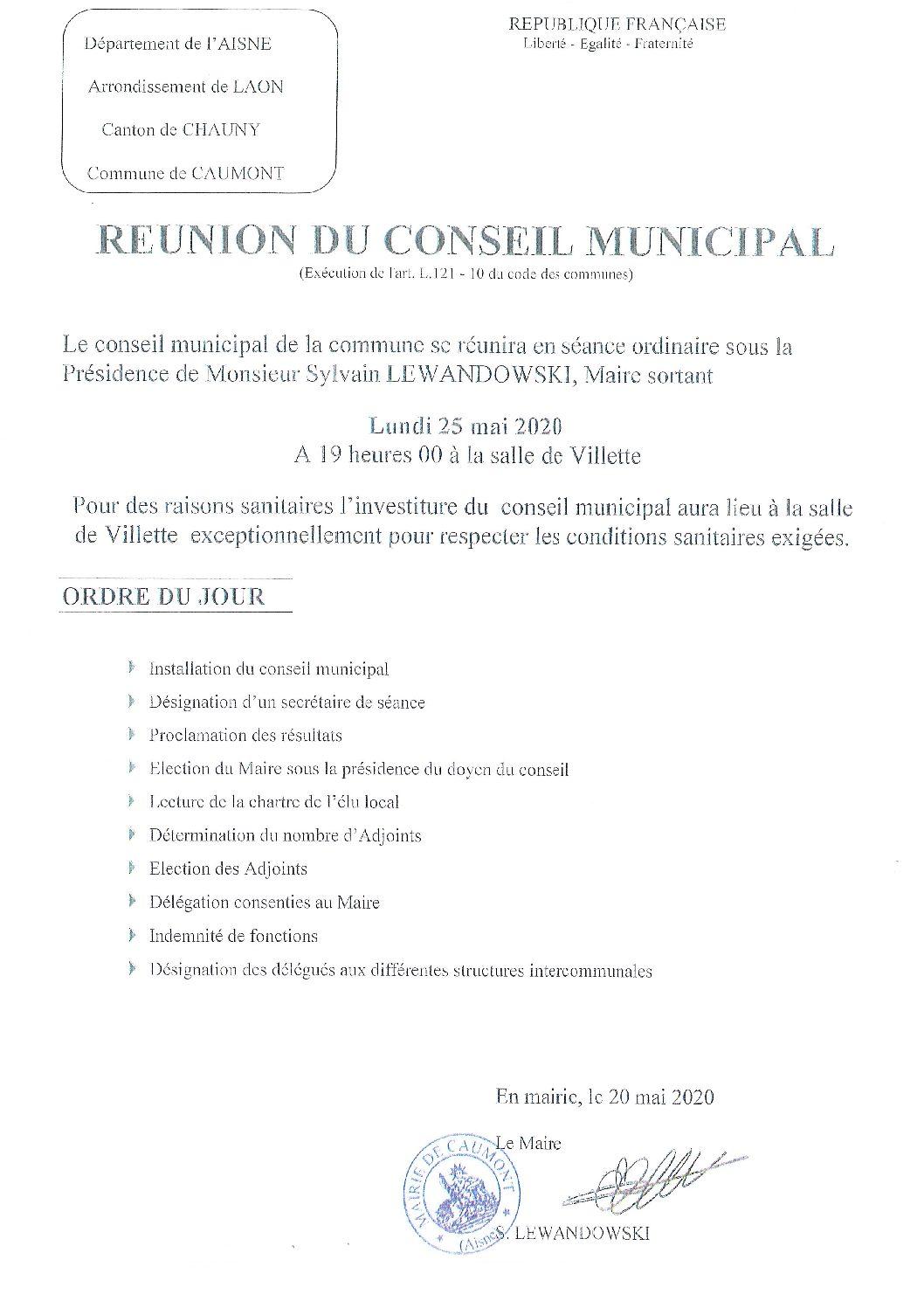 """Conseil municipal le 25 mai 2020 à 19h """"salle de Villette"""""""